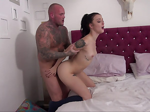 Inked-up brunette drilled apart from the brush stepbro