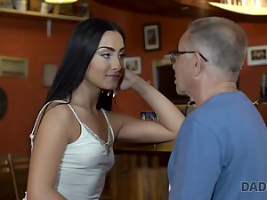 Angry guy catches elderly dad fucking his good-looking girl